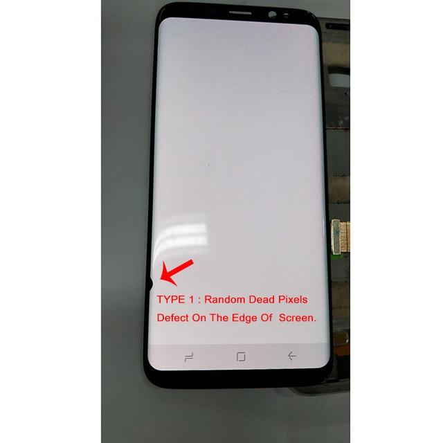 عرض ل S8 LCD قطع غيار سامسونج غالاكسي S8 G950 G950F عرض S8 زائد G955 G955F + اللمس شاشة أجزاء مع الميت بكسل