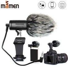 MAMEN טלפון מיקרופון מיני נייד 3.5mm הקבל טלפון וידאו מצלמה ראיון מיקרופון עם חיבורים עבור iPhone סמסונג מיקרופון