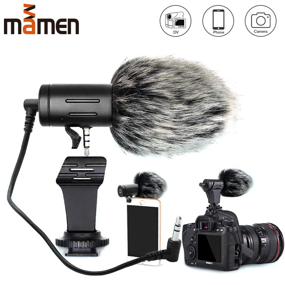 MAMEN Phone Microphone Mini Portable 3.5mm Condenser Phone Video Camera Interview Microphone With Muff For iPhone Samsung Mic title=