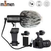 MAMEN Telefon Mikrofon Mini Tragbare 3,5mm Kondensator Telefon Video Kamera Interview Mikrofon Mit Muff Für iPhone Samsung Mic
