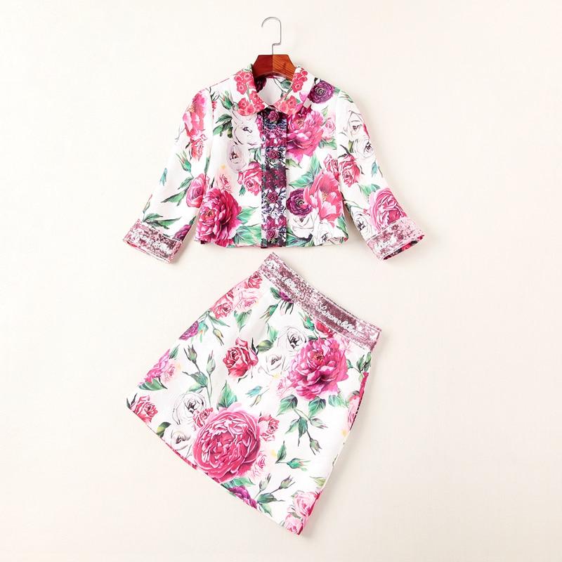 Deux 2018 Pièces Paillettes Piste Jacquard Qualité Haute Costumes Femmes Scénographe Imprimé Automne Manteau Jupe Npd0874n Ensembles OqaO7