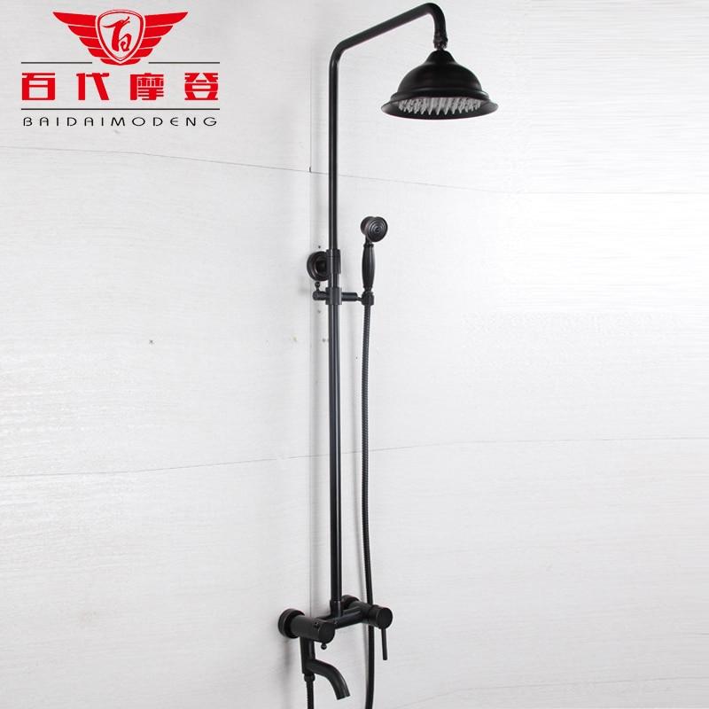 Comprar Estilo Europeo retro bronce negro conjunto elevador negro antiguo dibujo cobre de shower art fiable proveedores en BAIDAIMODENG Official Store