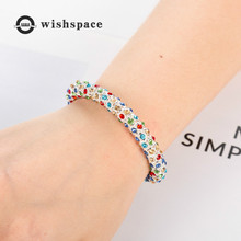 New wishspace 2019 set of colored glass drill transparent  beads water droplets womens fashion bracelets jewelry