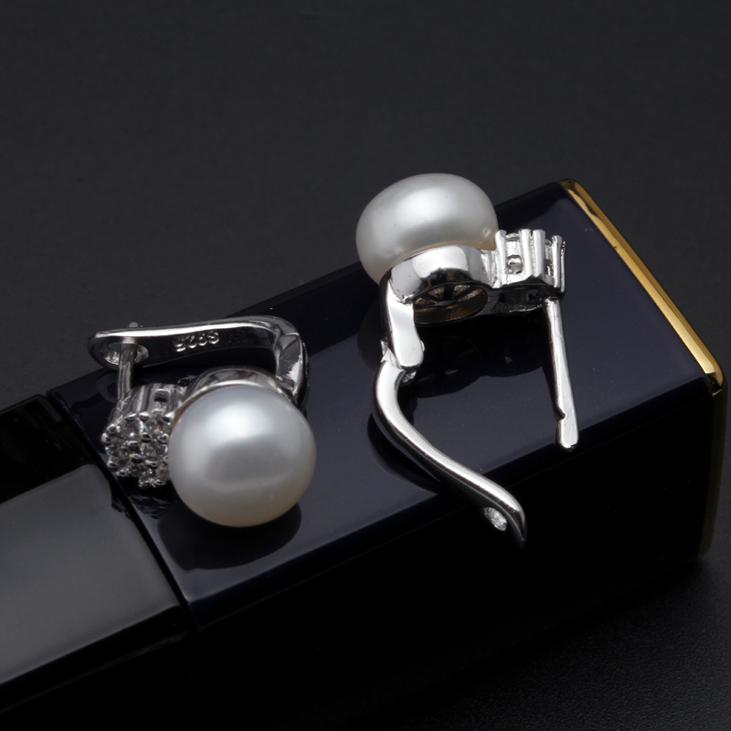 925 sterling silver earrings with pearl,real black natural freshwater earrings pearl women,clip on earrings