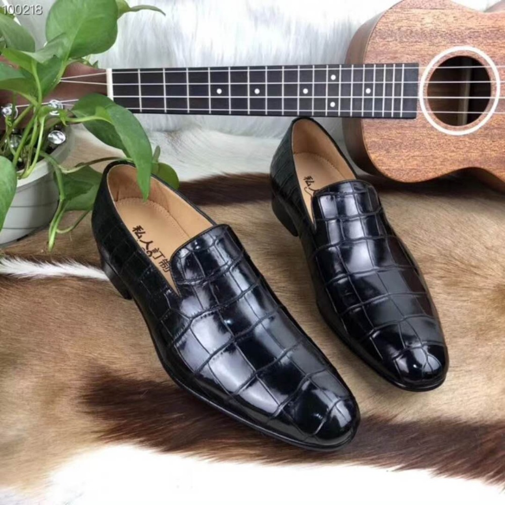 Shoes Frank Glossy Genuine Real Genuine Crocodile Skin Men Shoe Top Quality Durable Solid Crocodile Skin Men Shoe F Luxury Dress Men Shoe A Plastic Case Is Compartmentalized For Safe Storage