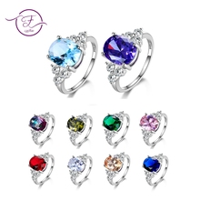 Multicolor Women's Rings With Oval Gemstone Topaz Stones 925 Sterling Silver Jewelry Ring Wedding Party Christmas Gift Wholesale(China)