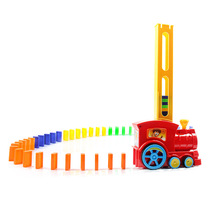 Domino Train Car Model Toys Automatic Sets Up Colorful Domino Blocks Game With Load Educational Toys