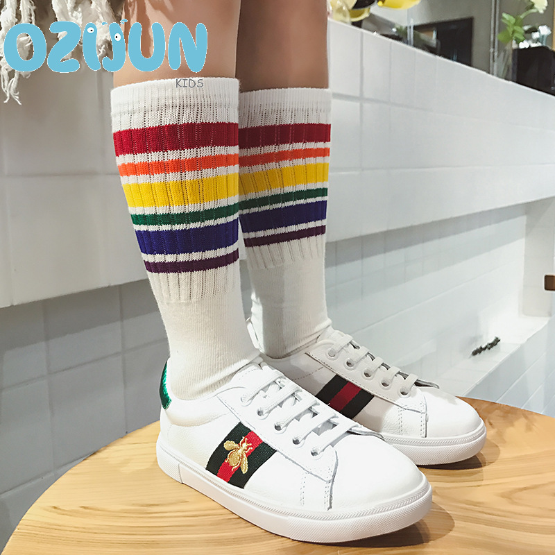 c32401239 2018 New arrival fashion baby Kids Knee High Socks For Girls Boys Football  Stripes Cotton Sports white black socks Old School. US  1.42