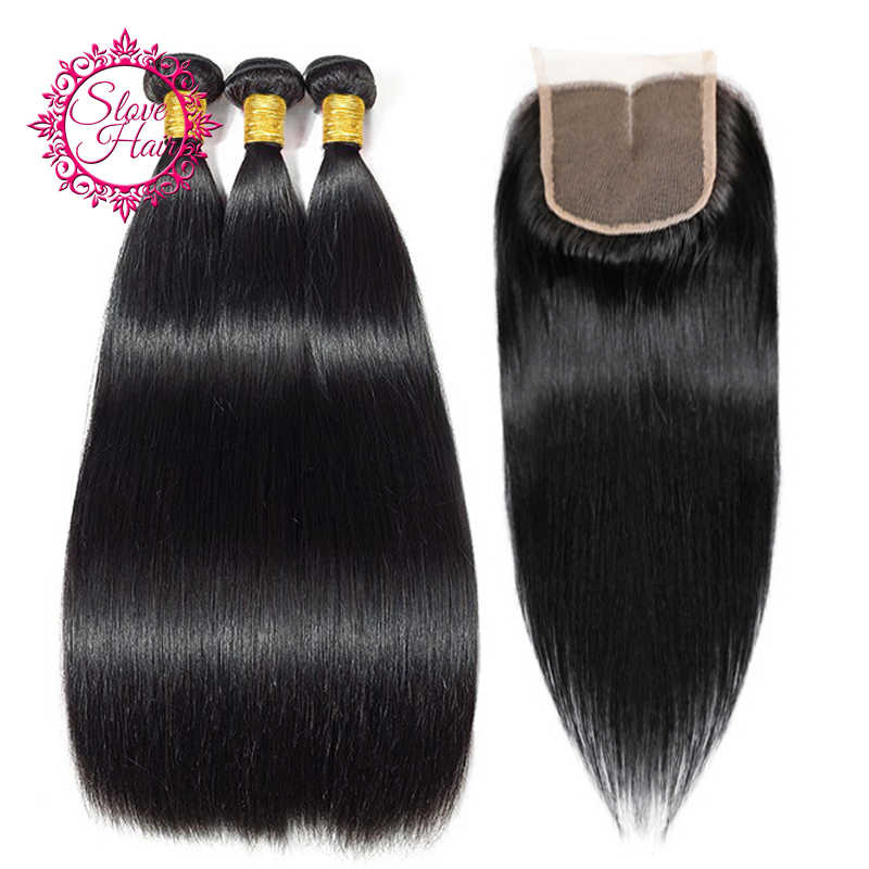 Brazilian Hair Weave Bundles With Closure Buy Non Remy Straight 3 Bundles Hair Extension Get 4x4 Lace Closure Free Part Slove