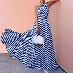 Women Summer Boho Long Maxi Dresses Sleeveless Backless Halter Blue Striped Dress Vestidos Evening Party Beach Dresses Sundress