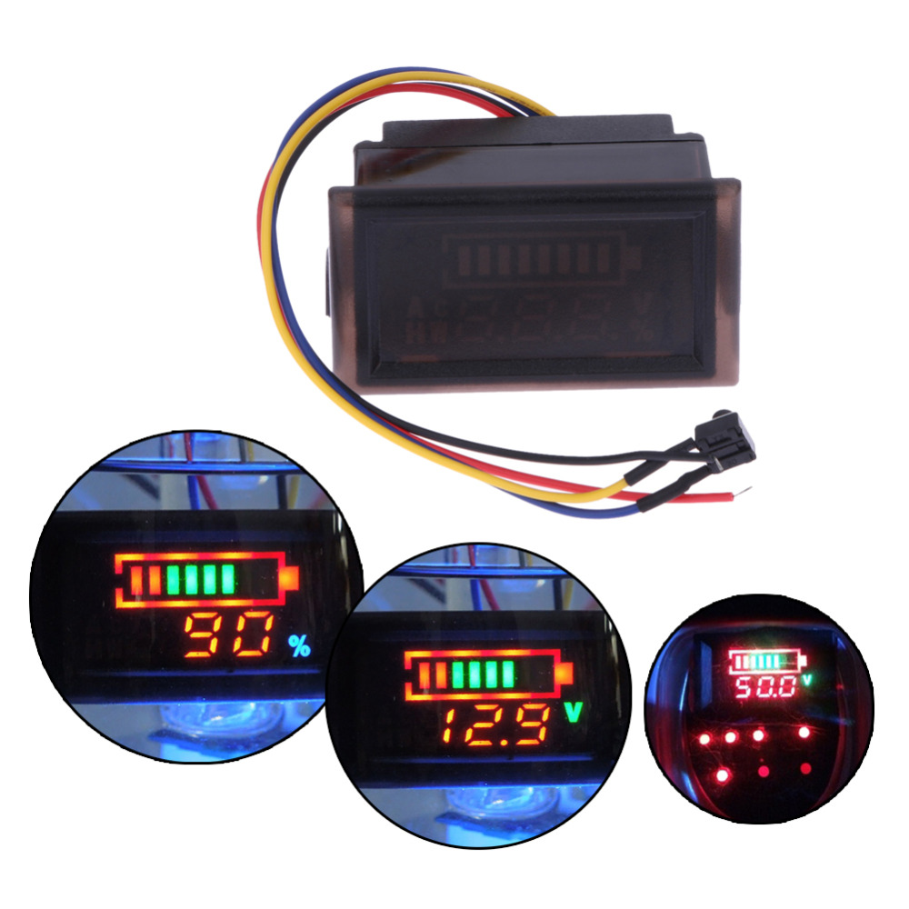 Multi-function Waterproof Red LED Screen Display AC Digital Voltmeter Electric Motorcycle 12V Lead-acid Voltage Meter Gauge
