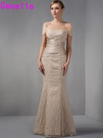 Champagne Long Mermaid Off Shoulder Lace Mother Of The Bride Dresses 2017 Elegant Mother Bride Dresses Removable Straps 2017