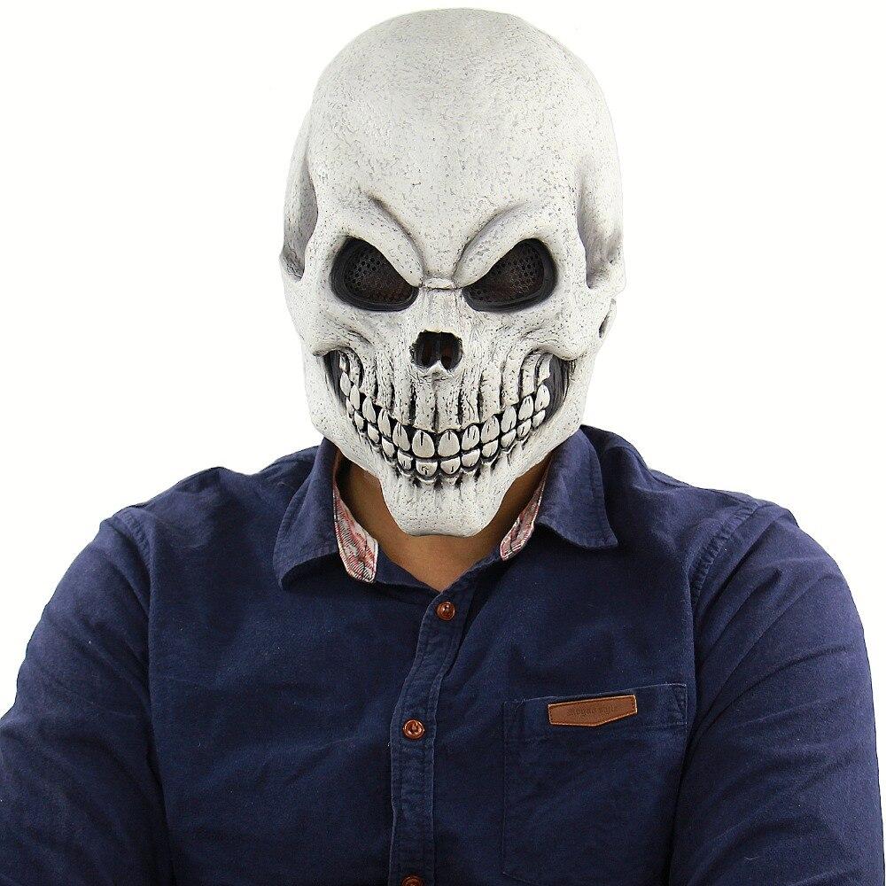 Хэллоуин пугающая маска, костюм для мужчин, женщин, детей, Deluxe маска, белая маска, Моррис студии, мужская маска смерти Черепа, костей, полная маска|Маски для вечеринки|   | АлиЭкспресс