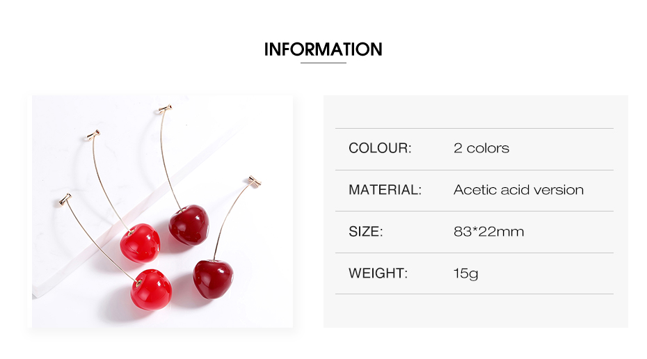 Cute Fruit Cherry Earrings Acrylic Long Red Earrings For Women Removable Elegant Jewelry Wedding Cherry Accessories Jewellery 3