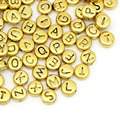 """8SEASONS Spacer Beads At Random Alphabet/Letter golden tone 6mm ( 2/8"""")Dia,Hole:Approx 0.5mm,50PCs"""