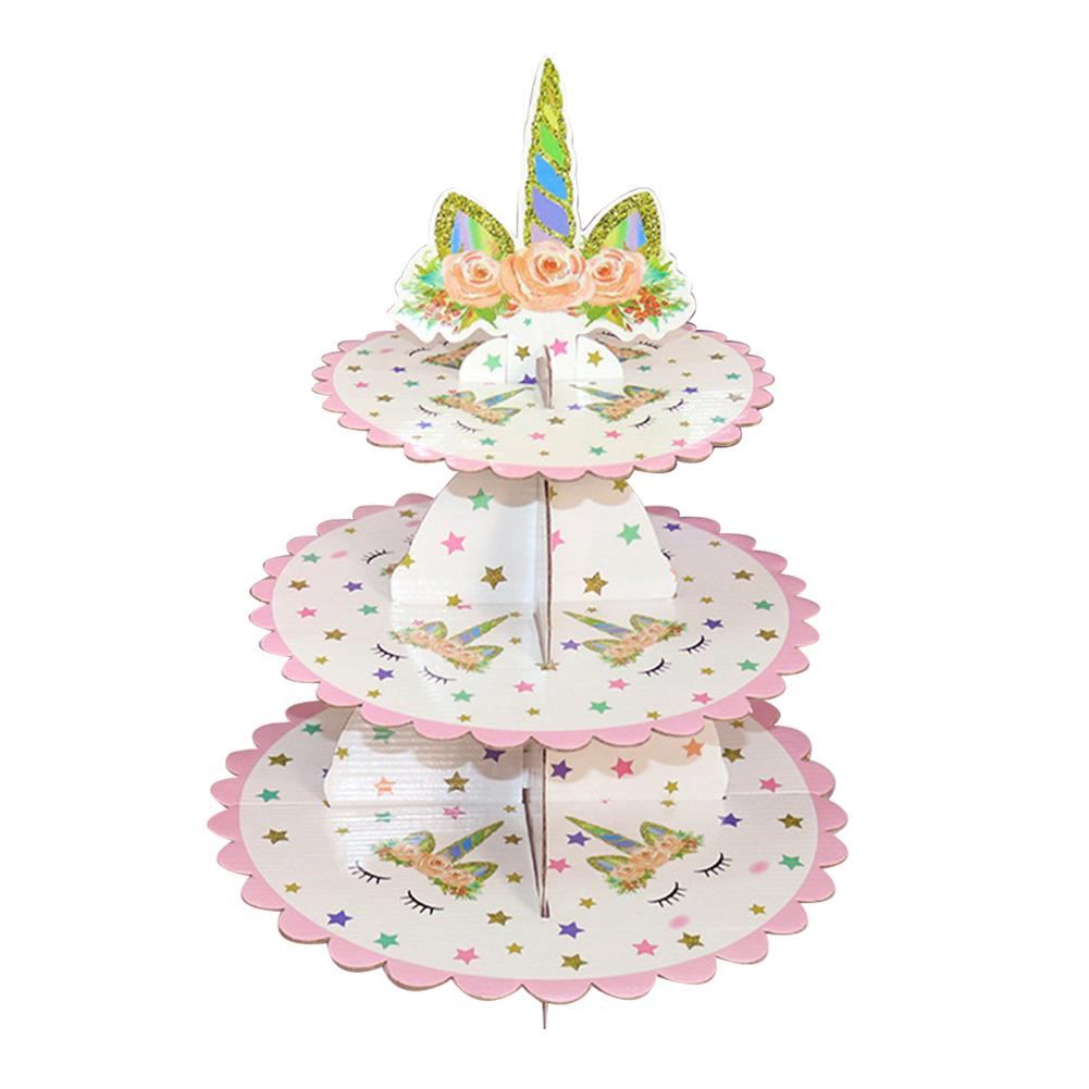 3 Tier Unicorn Cardboard Cupcake Stand Dessert Holder for Baby Shower Gender Reveal Party