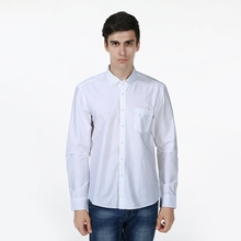 New Slim Fit Argyle Dot Solid White Color Cotton High Quality Casual Shirt Men s Social