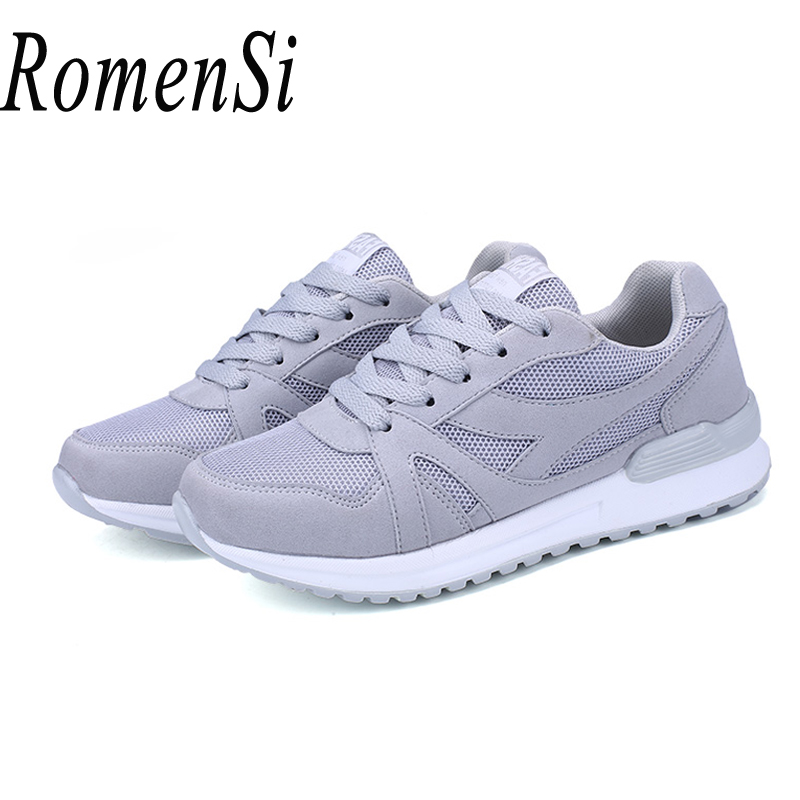 RomenSi Women New Mesh Casual Sneaker Flat Shoes Fashion Student Walking Lace-up Breathable Women Shoes Size(eur) 35-40