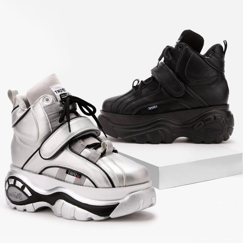 ¡Oferta! zapatillas de deporte negras de aumento para mujer 7 cm 2018 nuevas zapatillas gruesas de otoño invierno con cordones para mujer