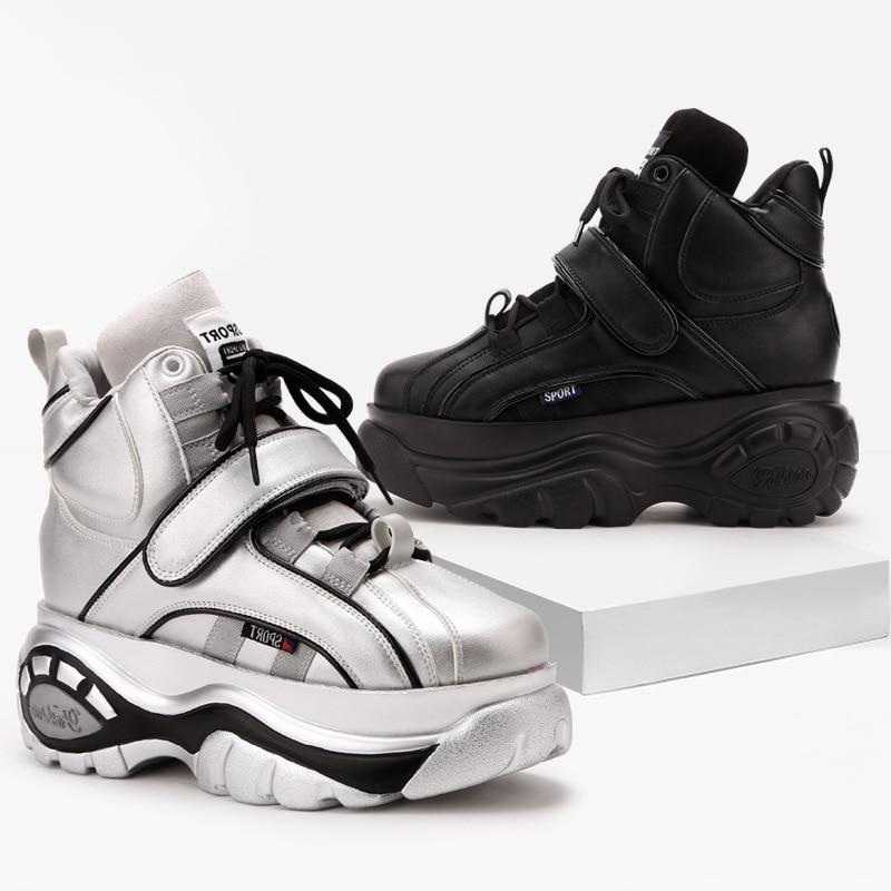 Venta caliente negro mantener caliente mujer Zapatillas de deporte 7 cm 2018 nuevo Otoño e Invierno de las señoras de fondo grueso zapatillas de deporte de moda aumento ocio zapatos