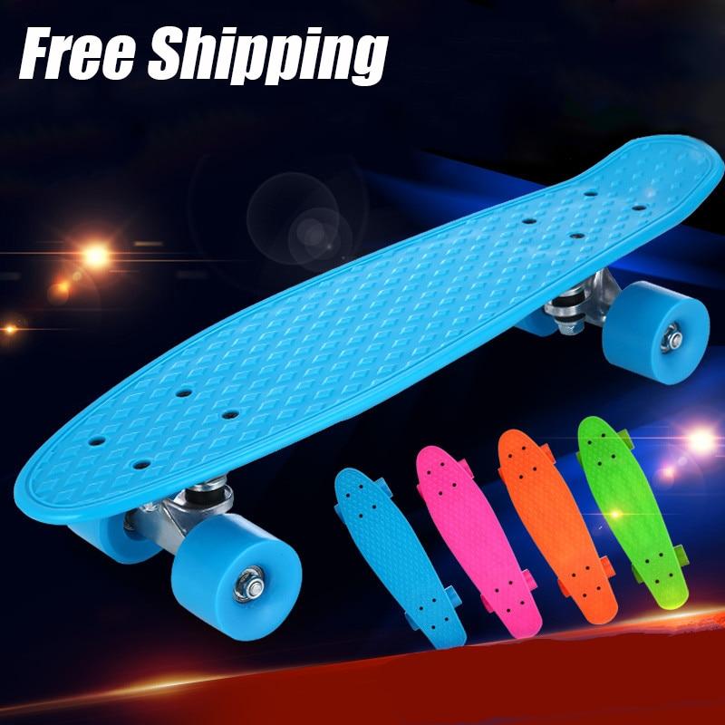 Новый пастельных цветов доски пены мяты 22 pnny Стиль скейтборд полный Пластик Longboard колеса мини Cruiser Пластик скейтборд