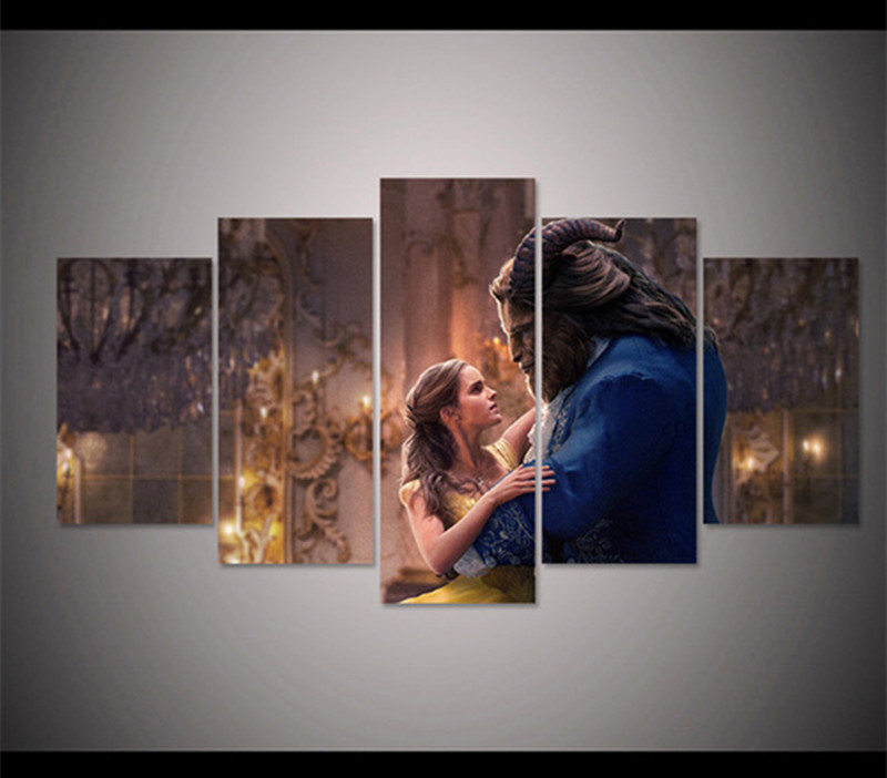 5d diy diamond painting Beauty and beast Movie Poster cross stitch full square diamonds 3d diamond embroidery 5pcs home Decor