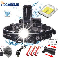 100W 2019 50000lm Led Headlight XHP70 Waterproof Zoomable with Micro USB Charging 3 Modes for 3*18650 z45