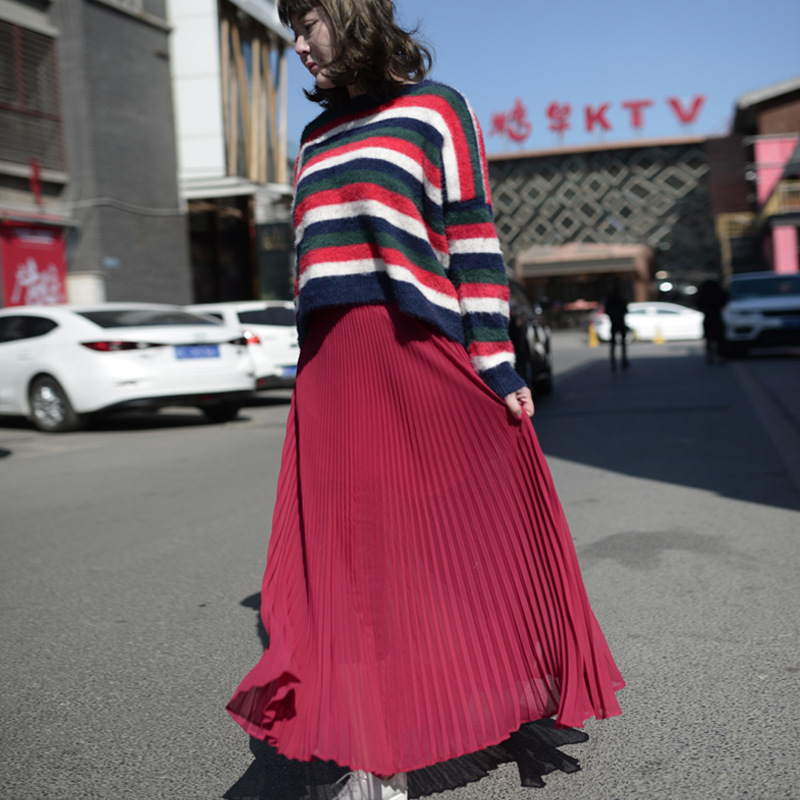 Vientisa spalva sifono ilgos sijonas elegantiškas pavasario vasaros - Moteriški drabužiai - Nuotrauka 1