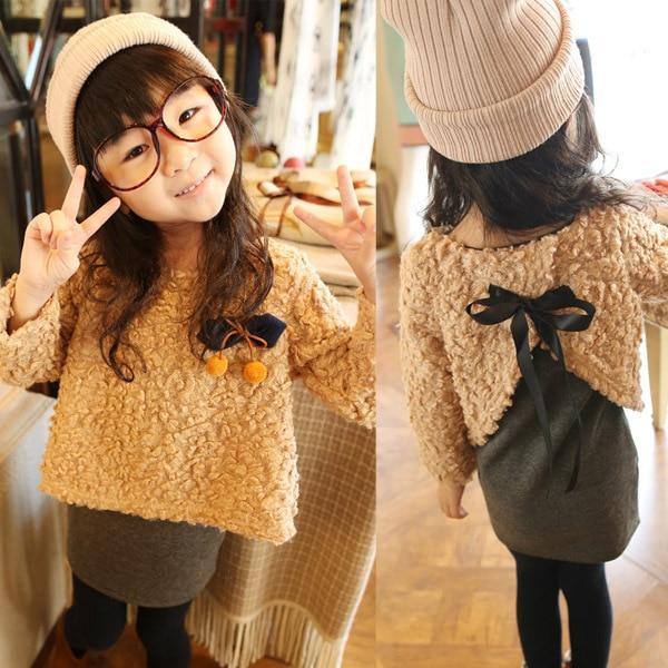 Free shipping children's clothing Autumn/Winter children girls plus velvet dress fake two thicker children clothing