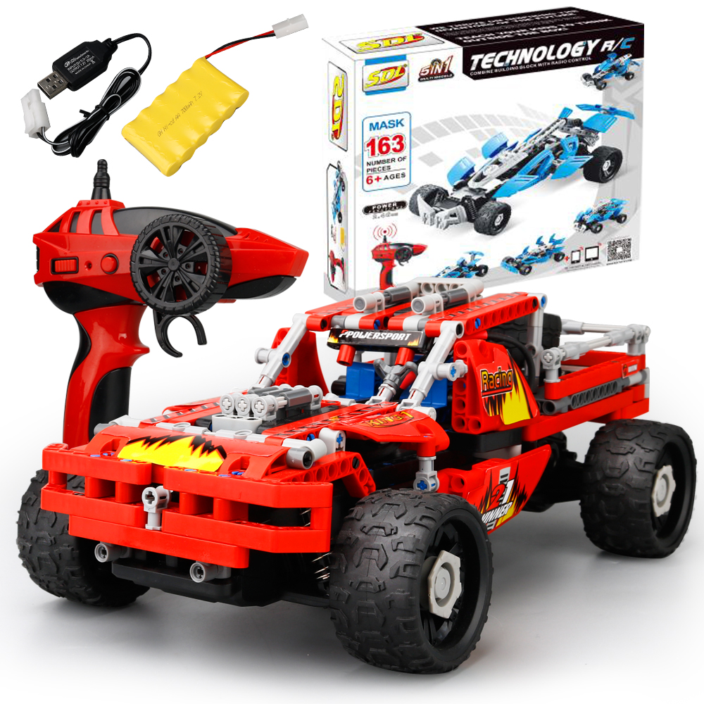 5 In 1DIY Technic Bricks Remote Control Toys Building Blocks Bricks Building block Rc cars Assemble Car Educational toys 12dd building blocks assembled remote control car educational toys red black