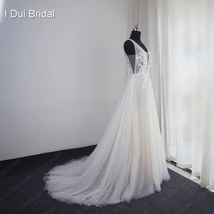 Image 3 - Pearl Wedding Dress with Lace Appliques Boho Chic Bridal Gown Beach Style Light Weight Factory Real Photo