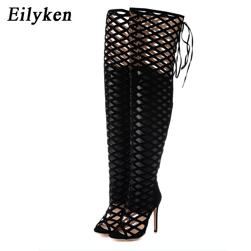 Eilyken Sexy Peep Toe Cut Out Gladiator Over The Knee High Heels Women Sandals Boots Women Night Club Openwork High Boots
