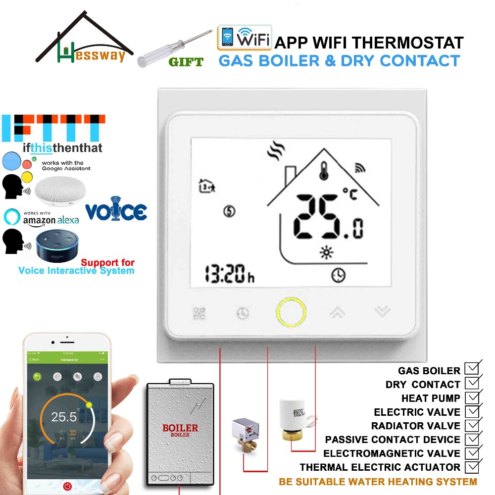 EU dry contac,Passive connection Wall Mounted Gas Boiler Wireless Thermostat WIFI for Works with IFTTT Alexa Google home-in Gas Water Heater Parts from Home Appliances    1