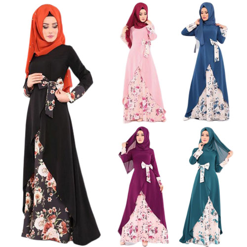 2019 new elegent fashion style muslim women plus size long abaya S-XXL