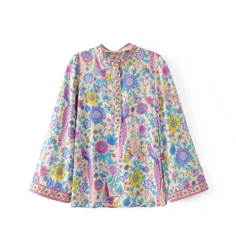 2019 nouveau Lovebird femmes Blouse chemise col en v boutonné avant à manches longues printemps été chemises Blouses Boho Hippie plage Blusa haut