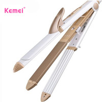 KeMei 3 In 1 Hair Curling Iron EU Plug Electric Hair Straightener Multifunction Corrugated Iron Corn
