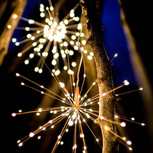 40 Branch 200 LED Solar Lamp Starburst String Light Firework Copper Light IP65 Waterproof Holidays Lighting Led Firework Grand