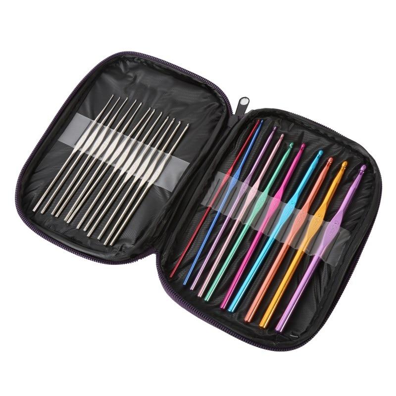 New 22 Pcs/Set Multi Stainless Steel Needles Crochet Hooks Set Knitting Needle Tools With Case Yarn Craft Kit Z7
