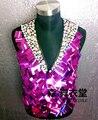 new male singer dancer costume suit bodysuit New arrival electrical ds powder mirror leather vest