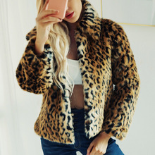 Faux Fur Coat Leopard Size Plus Fashion Women Short Jacket Outwear Covered Button Winter Warm Lady Slim