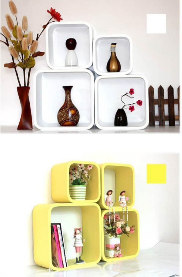 4pieces/1lot square Decorative Wall Shelves Wood Wall Shelves Modern ...