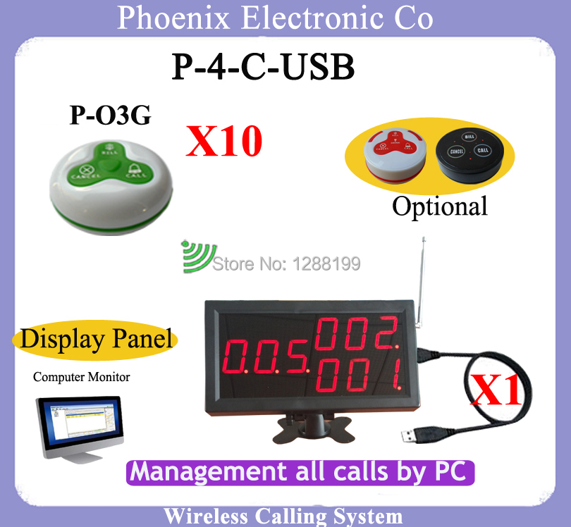 Restaurant Wireless Waitress Call System With 1pcs Customer LED Display 4-C-USB  and 10 Table Bell P-O3 restaurant pager watch wireless call buzzer system work with 3 pcs wrist watch and 25pcs waitress bell button p h4