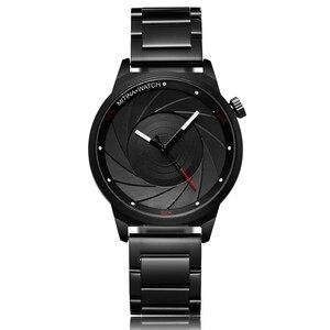 Image 2 - יוקרה מגניב גברים שחור פלדת שעון גברים אופנה למעלה מותג ספורט ייחודי עיצוב קוורץ יד שעונים זכר שעון Relogio Masculino
