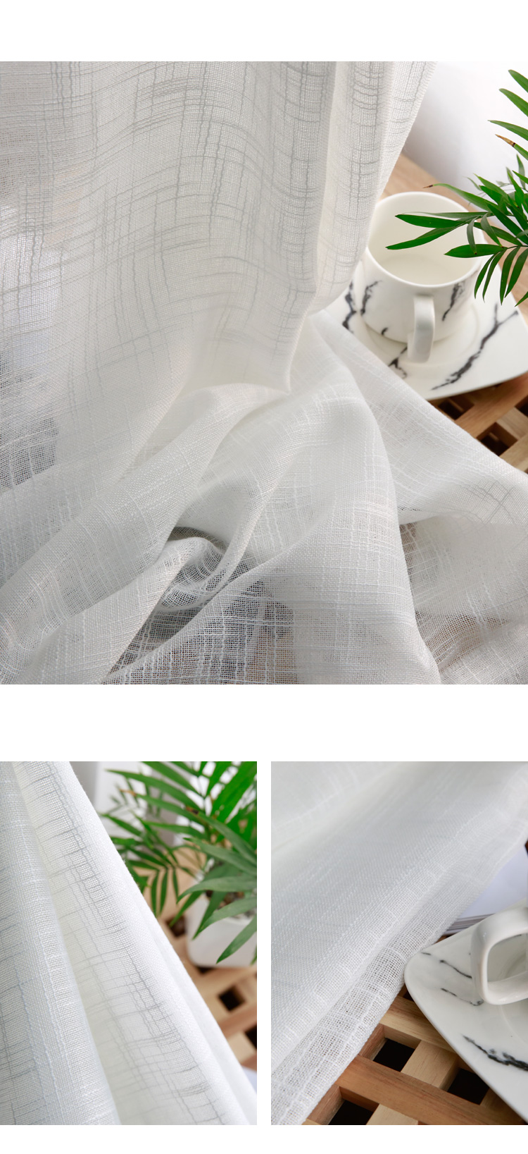 CITYINCITY Tulle  American Curtains for Living room Soft White Voile  solid Rural Tulle Curtain for bedroom ready made curtain11