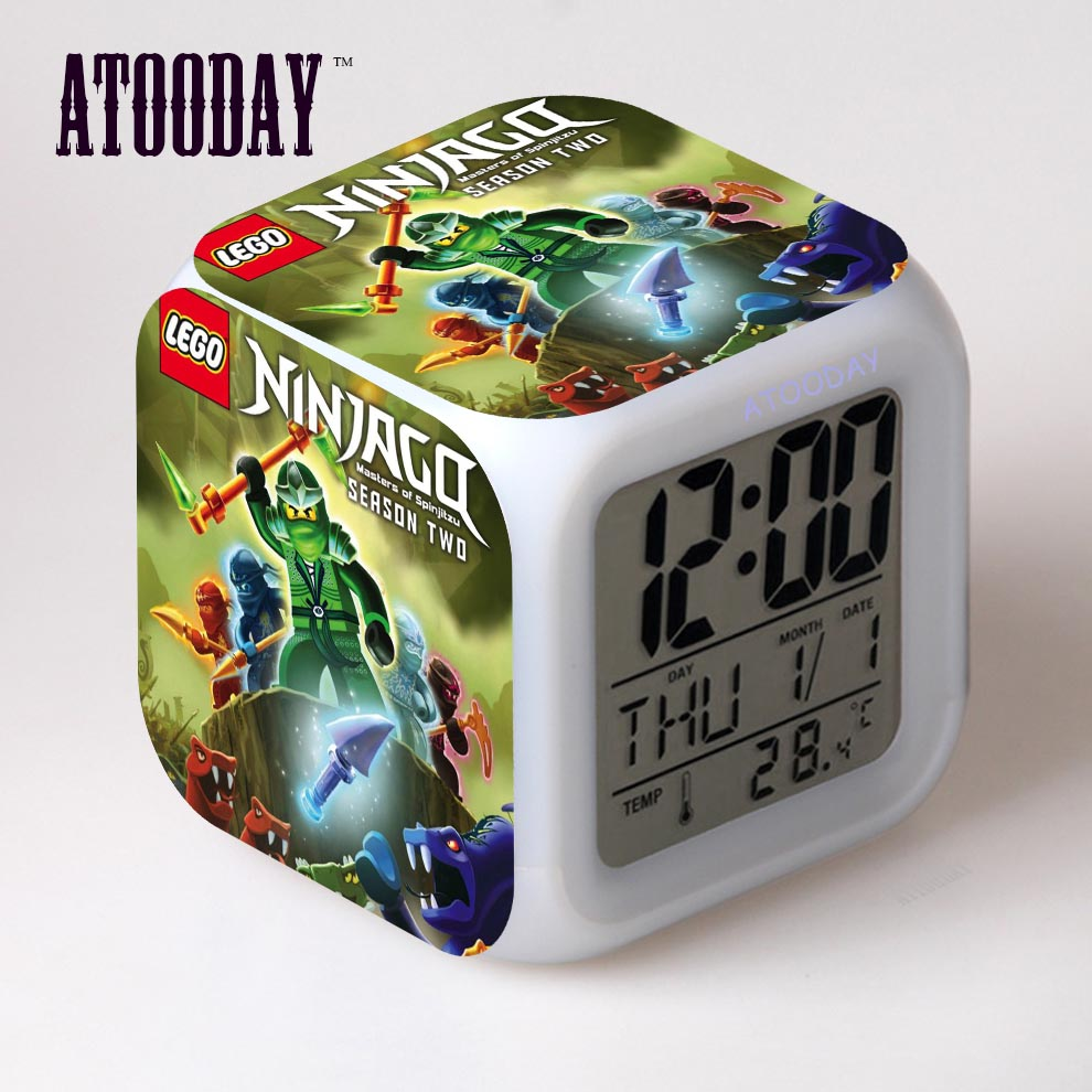 atooday ninjago alarm clock led light 7 color change lcd. Black Bedroom Furniture Sets. Home Design Ideas