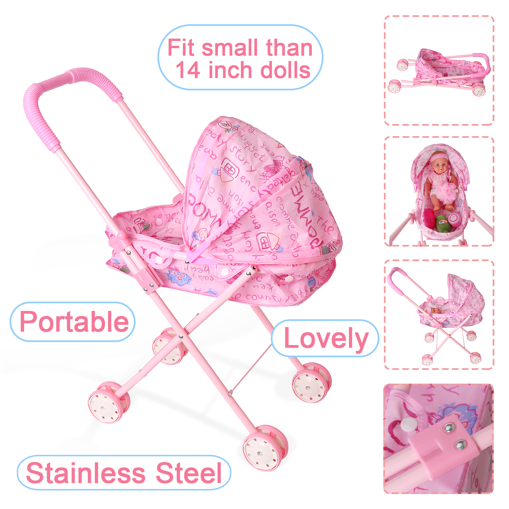 Doll Stroller Foldable Stroller Pushchair Safe Baby Dolls Carriages Pretended Play Furniture Toys Fit Small Than 14in For Kids