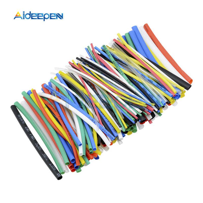 127/140/328/530 adet poliolefin küçülen çeşitli ısı Shrink hortum kablo kablo yalıtımlı Sleeving boru seti renkli/Siyah