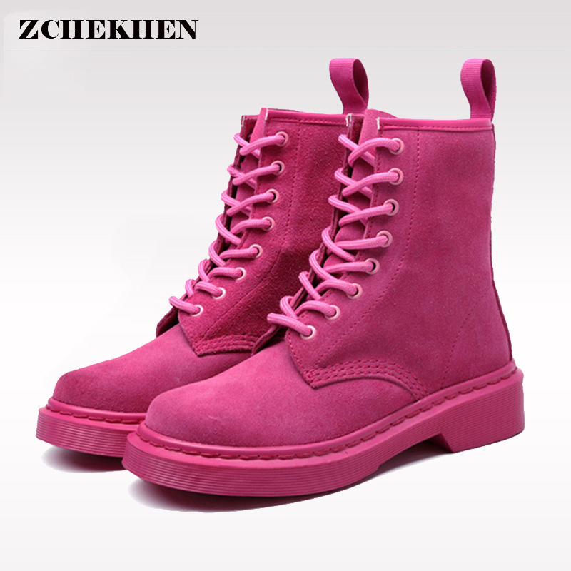 2018 Genuine Leather Women Martin Boots Military Shoes Botas Feminina Female Motorcycle Ankle Fashion Boots Women Botas Mujer