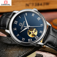 Luxury Brand Carnival Hollow Mechanical Watches Men Stainless Steel Import Movement Leather Strap Blue Dial Wristwatch Waterproo