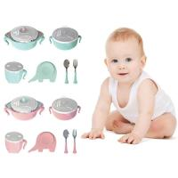 6pcs/set baby feeding bowls with cup fork spoon and mat children feeding supplies stainless steel bowl feeding 22*9*29.5cm D5